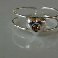 925 Sterling Silver Heart With Pink Gem Toe Ring