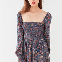 UO Brookside Floral Smocked Romper | Urban Outfitters