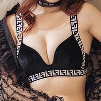 FENDI Newest Trending Women Stylish F Letter Two Piece Underwear Set Black