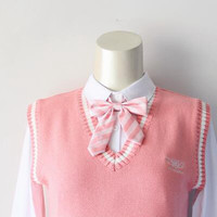 Cute Girls Japanese Striped Bow tie Preppy Skull Heart Embroidered Neck Ties for School Uniform