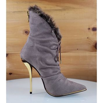 Luichiny More Please Taupe FX Fur Trim Pointy Toe High Heel Ankle Boot