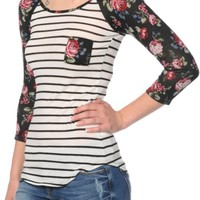 Workshop Karli Floral Stripe Baseball T-Shirt
