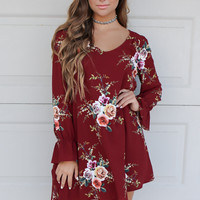 Run The World Burgundy Floral Dress