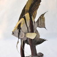 Paper Mache Angelfish, Cardboard Animal, Fish Sculpture, OOAK Unique Handmade Sculpture, Reclaimed Materials, Faux Taxidermy, Handpainted