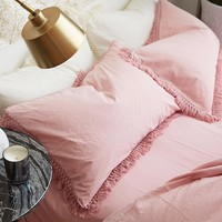 1pc Nordic Washed Cotton Tassels Pillow Case Solid Color Retro Couple Pillow Cover Bedding Decorative Sleeping Soft Pillowcase