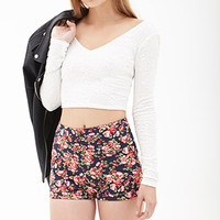 FOREVER 21 High-Waist Floral Knit Shorts