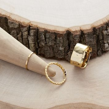 Set Of Three Hammered And Textured Stacking Rings