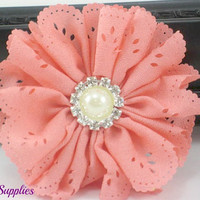 Coral eyelet chiffon fabric flower with pearl rhinestone center - Large coral flower for headbands and hair clips - coral wedding flower