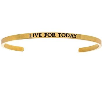 """Intuitions """"Live for Today"""" Yellow Stainless Steel Cuff Bangle Bracelet"""