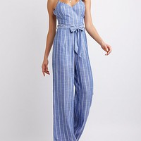 Strappy Striped Jumpsuit   Charlotte Russe