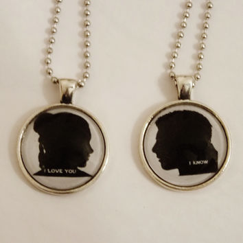 I Love You, I Know Couples Necklace Set. Fandom Jewelry Set. 18 Inch Ball Chains.