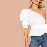 Sexy White One Shoulder Puff Sleeve Peplum Knot Belted Top Blouse Women Solid Ruffle Elegant Party Blouses
