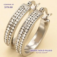 Stainless Steel Women Small Hoop, with White Crystal, by Folks Jewelry