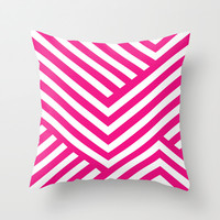 Pink and White Stripes Throw Pillow by Liv B