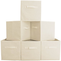 Premium Quality Fabric Cube Storage Bins, Set of 6 - Beige Foldable Baskets with Dual Handles