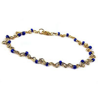 """Royal Blue Curved Anklet 9"""" Beaded Yellow Gold Plated Fashion Summer A05G"""