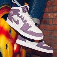 NIKE AIR JORDAN 1 Fashion Women Leisure Sport Shoes Sneakers Pink&Purple