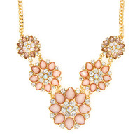 Juliet Pink Glitter Stone and Crystal Flowers Statement Necklace