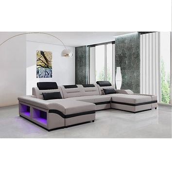 Modern Unique Fashionable Leather Sofa with Double Chase