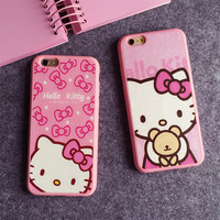 4.7 5.5 Inch Cartoon Hello kitty Silk TPU soft pink color frame case for iphone 7 6 6S 6 7 plus 5 5s SE phone case back cover