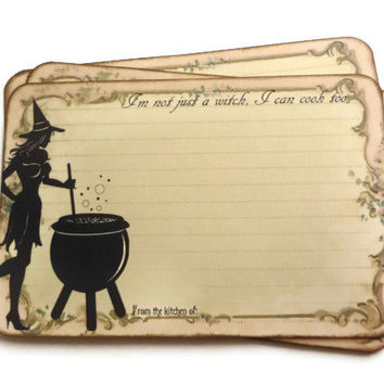 Funny Witch Recipe Cards Halloween From Istria Design