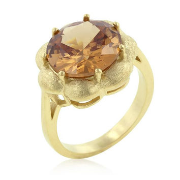 Champagne Floral Cocktail Ring, size : 05