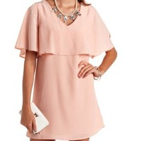 Strappy Back Flutter Sleeve Flounce Shift Dress - Blush