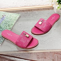 LV New fashion monogram print women shoes flip flop slippers Rose Red