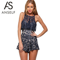 ANSELF 2016 New Summer Rompers Womens Jumpsuits Ruffles Hollow Out Sleeveless Lace Elegant Jumpsuit Sexy Bodysuit Playsuit