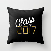 Class of Pencils 2017 White Font Throw Pillow by UMe Images