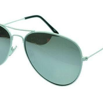 Ray Ban Aviator RB3025 Sunglasses White Frame Silver Lens