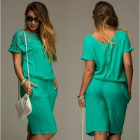 Plus Size Women Summer Lace Jumpsuits & Rompers Short Sleeve Playsuit Women Clothing Loose Lace Shorts Overalls Woman M0233