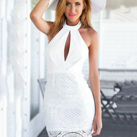 White Floral Lace Halter Backless Cut-Out Mini Dress