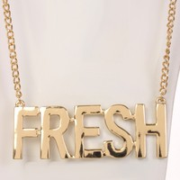 Gold FRESH Lettering Pendent Necklace