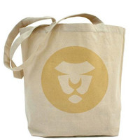 Lion Butter Tote, Eco, Shopping, Natural,  Art on Both Sides, Cats, Animals, Circles, Tan, Sand, Yellow, Fun, Fashion, Children, Baby