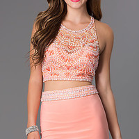 Short Two Piece Blush Dress
