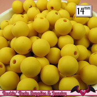 GUMBALL Beads 14mm Beads 25 pcs FROSTED YELLOW Round Acrylic Beads