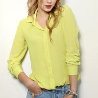 Long Cuff Sleeve with Convertible Collar Chiffon Blouse