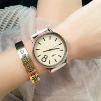 PU Leather Belt Round Dial Quartz Watch Number 8