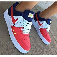 Nike Air Force 1 Trending Women Men Stylish Color Matching Low Mini Swoosh USA Sneakers Sport Shoes I/A