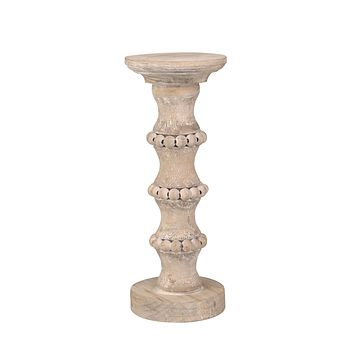 "Wooden 13"" Banded Bead Candle Holder"