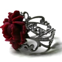 Red Rose Ring - Victorian Mourning Jewelry