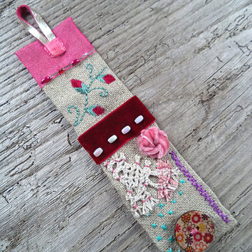 Hand embroidered linen cuff bracelet, Lace fabric bracelet, Maroon and pink cuff bracelet, Hand embroidered flowers bracelet, gift for her.