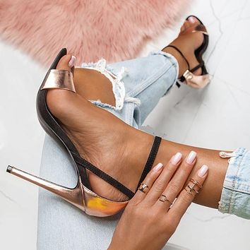 New style sandals with open toe stiletto heels women shoes