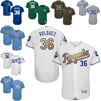 White grey blue White Edinson Volquez Authentic Jersey , Men's #36 Kansas City Royals Gold Program 2015 World Series Champions