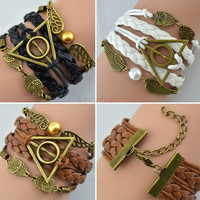 Harry Potter Braided rope, platted Leather bracelet Snitch Angel Wings Owl 19504 Necklace = 1932866884