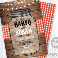 BABYQ Invitation Baby Shower BBQ Invite Instant DOWNLOAD Red Twins Gender Reveal Wood Rustic Couples Party Jar Personalize Digital Printable