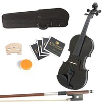 Mendini 16-Inch MA-Black Solid Wood Viola with Case, Bow, Rosin, Bridge and Strings