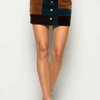 Brown Suede Colorblock Button Up Mini Skirt
