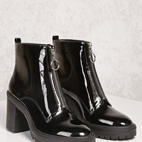 Faux Patent Ring Pull Boots